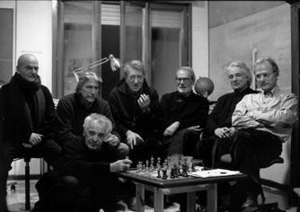 """I pittori della """"Metacosa"""" con Adriano Baldi, presidente dell'Adac"""